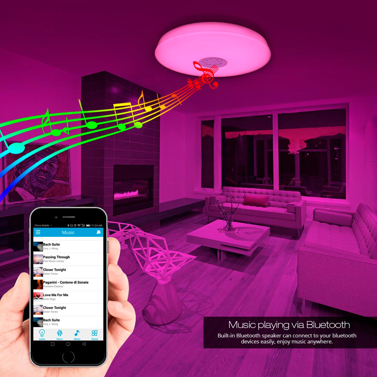 le dimmbar 24w led deckenlampe mit bluetooth lautsprecher. Black Bedroom Furniture Sets. Home Design Ideas