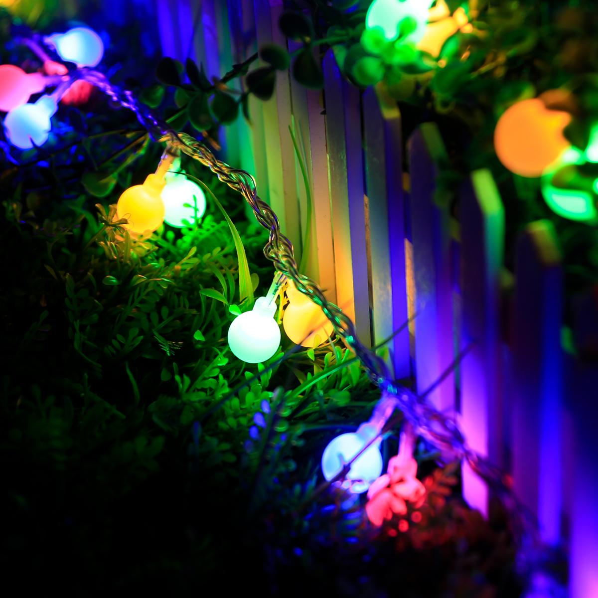 100er LEDs Kugel Außen Lichterkette, 10M 8 Modi RGB Weihnachten ...