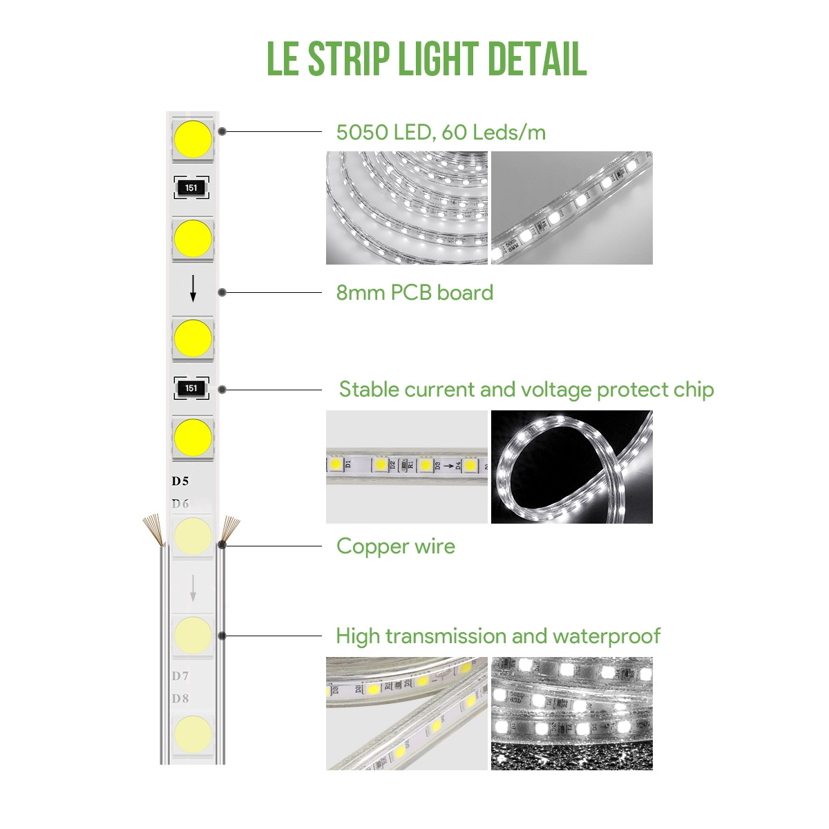 15m Led Strip Light 5050 Smd Leds 220v 240v Tape Ip65 Lights As Well Rgb Wiring Diagram On Daylight White