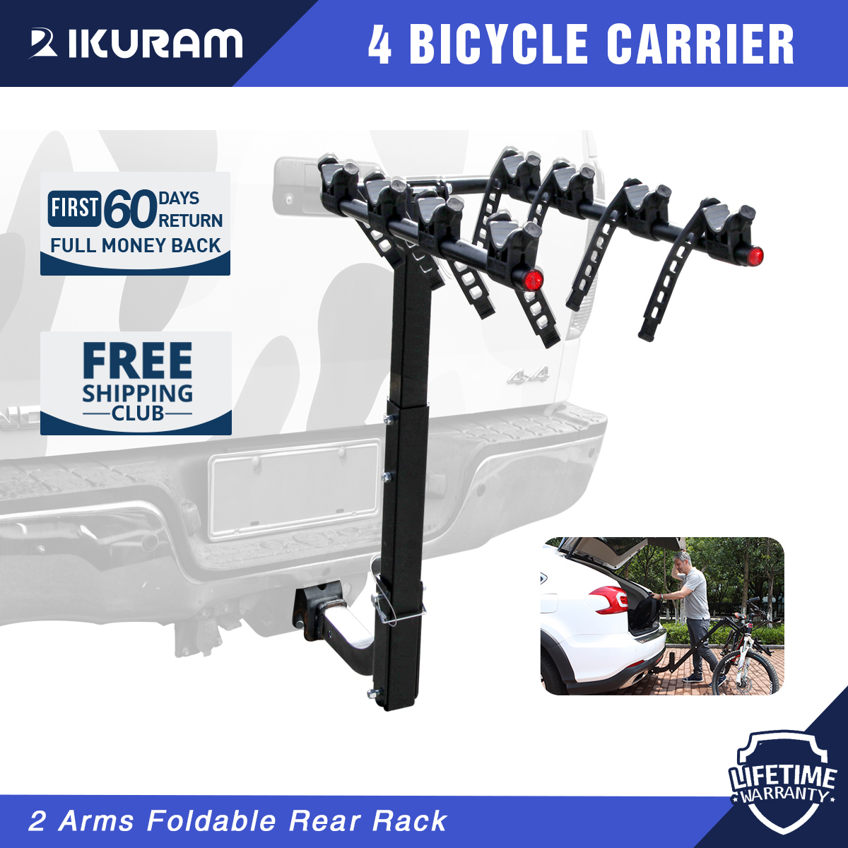 6 Bike Rack Bicycle Carrier Rear Hitch Mount Rear Rack Foldable Car