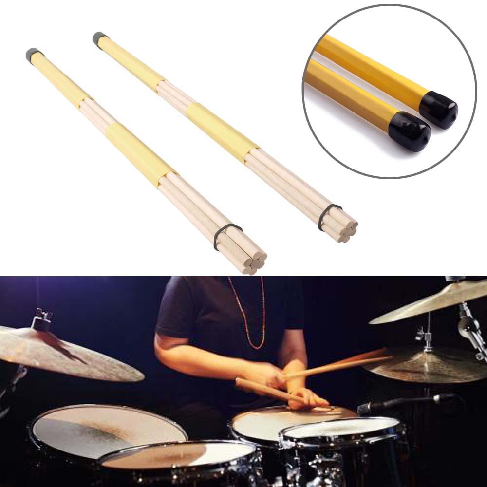 7 dowels pro hot rods drum stick wooden drumsticks anti slip rubber grisp yellow ebay. Black Bedroom Furniture Sets. Home Design Ideas