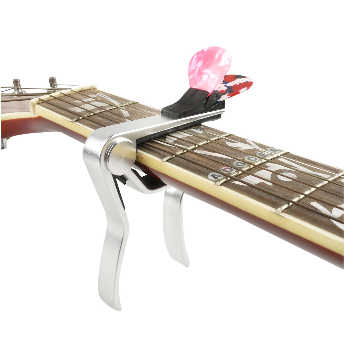 alloy guitar capo with pick holder for acoustic electric classical guitar silver 603803162243 ebay. Black Bedroom Furniture Sets. Home Design Ideas