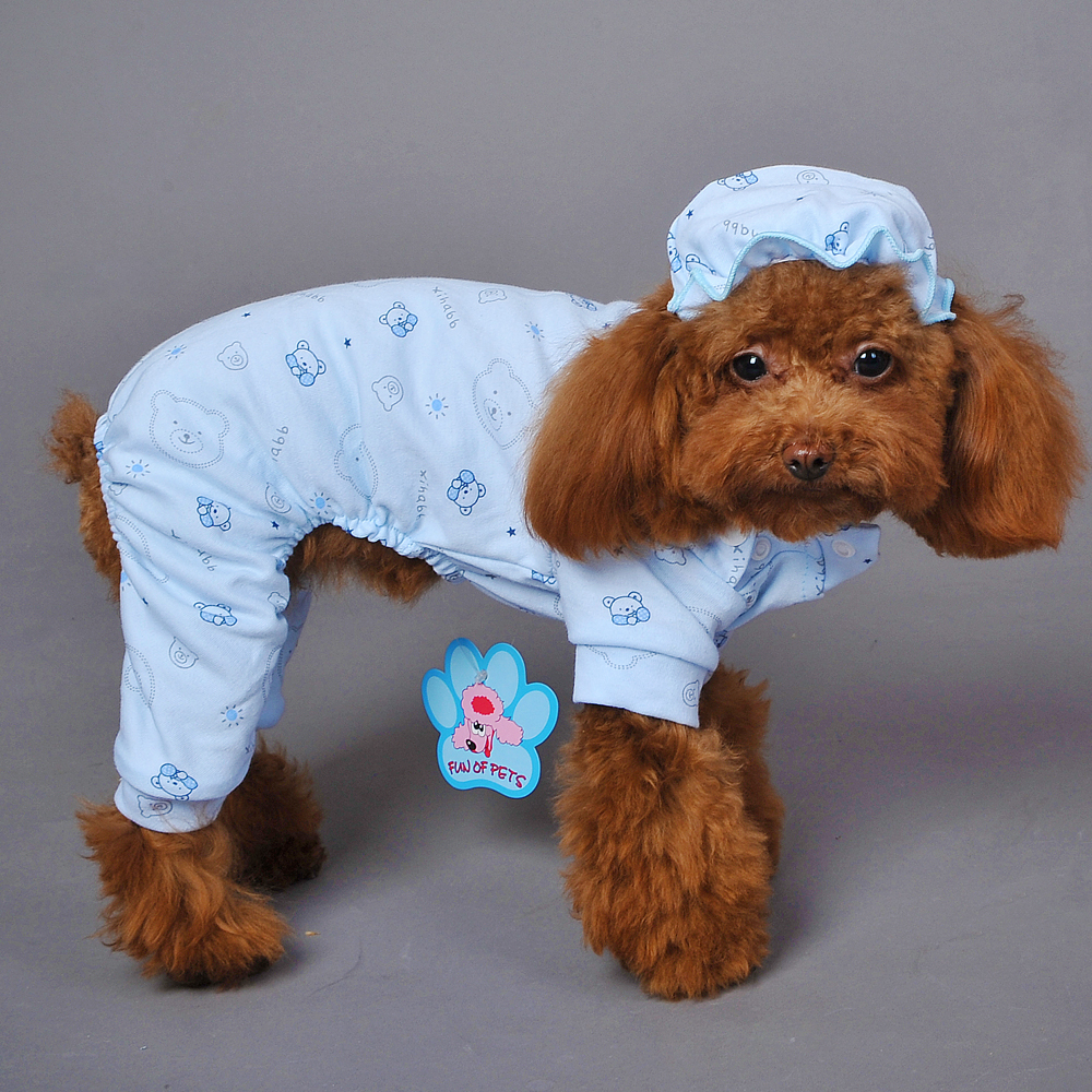 Details about Cotton Small Pet Dog Pajamas Clothing Cat Puppy Chihuahua  Jumpsuit with Hat Cute