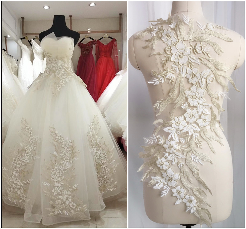 1PC Pearl Flower Applique Embroidery Wedding Dress Lace Beaded Embellishments