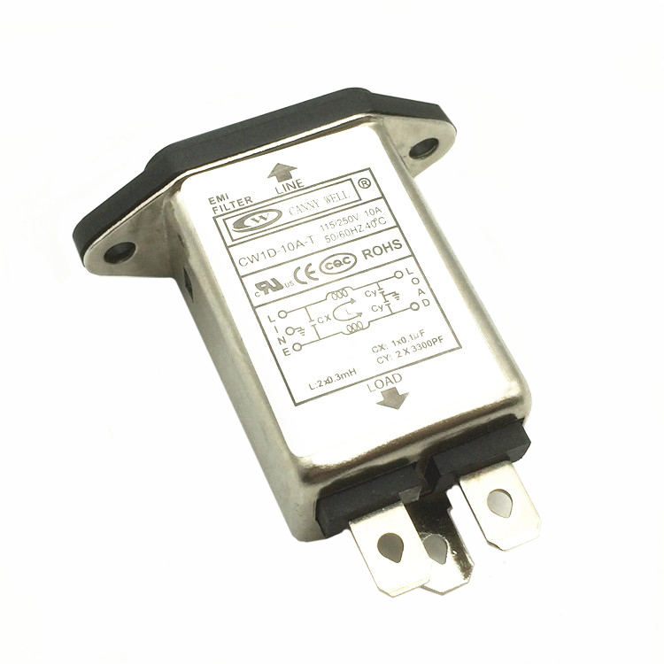 1X EMI RFI Filter AC 250V 10A CW1D-10A-T Suppressor Power Line Noise Filter TGI