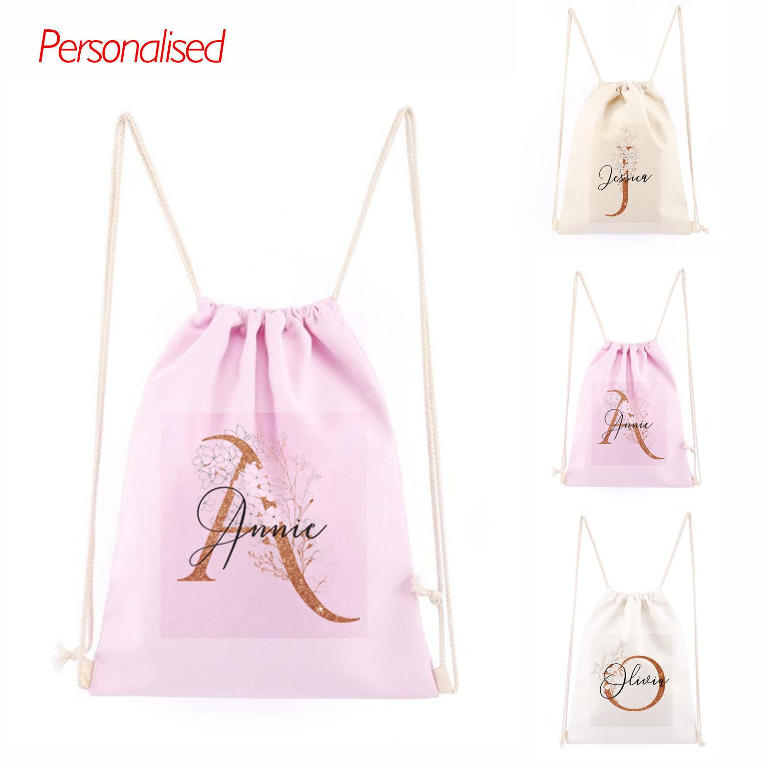 Personalised Name Unicorn Girls Drawstring Bag PE GYM Back To School Kids Bag