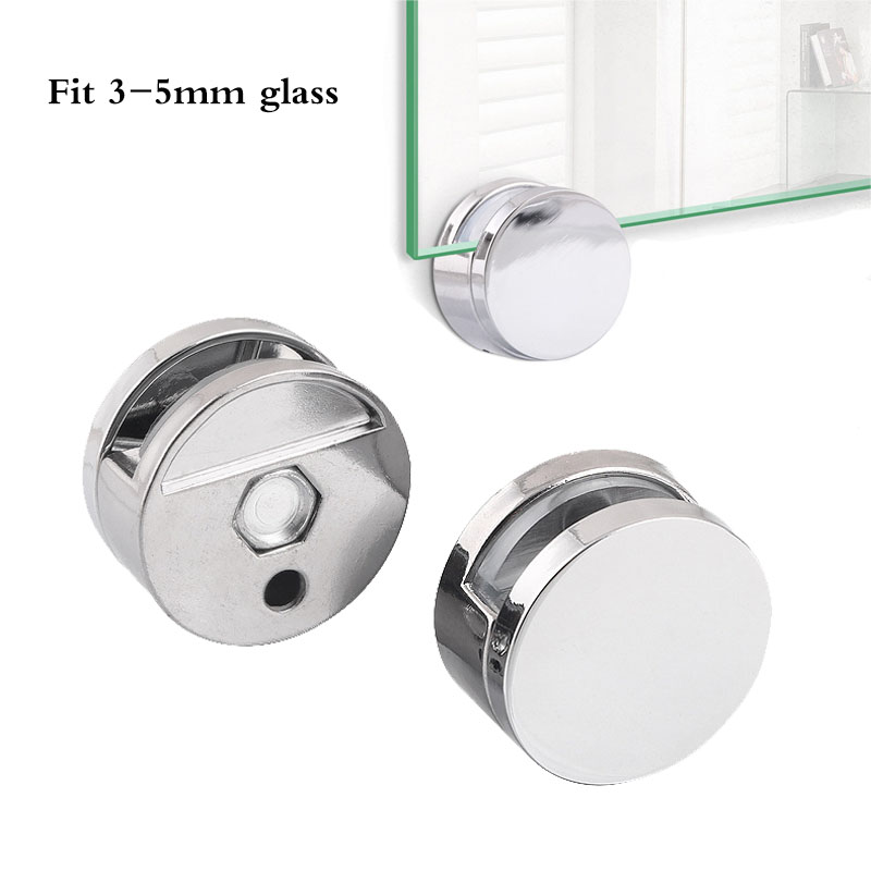 2pcs 3-5mm Mirror Glass Hanging Kit Wall Bracket Round Clips Zinc Alloy