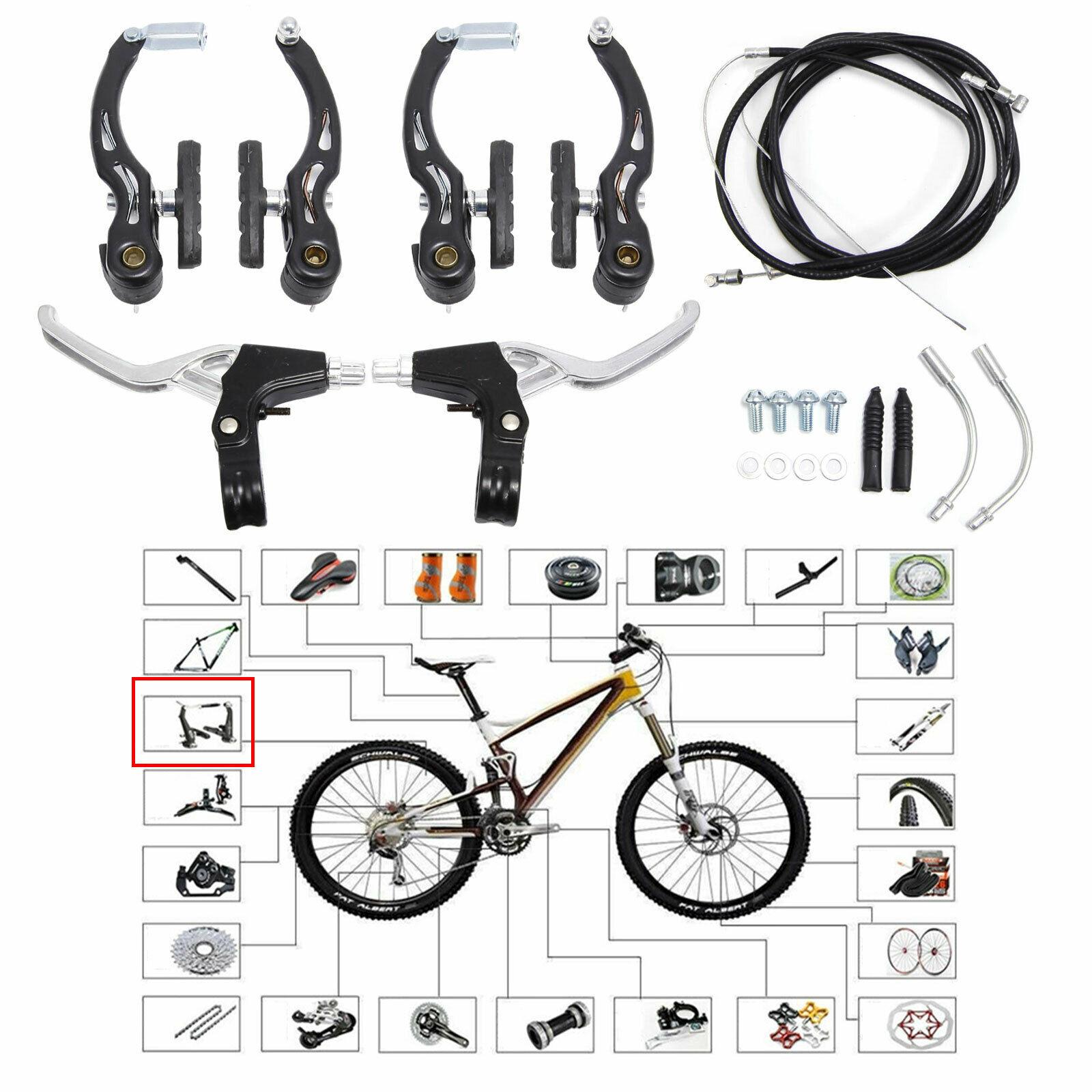 cables set Black MTB Bike v brake Complete Mountain V Brakes Levers