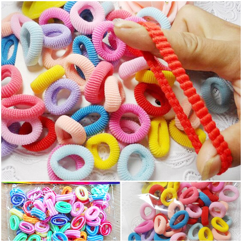 100pcs Girl Elastic Rubber Hair Ties Band Rope Ponytail Holder Fashion Scrunchie