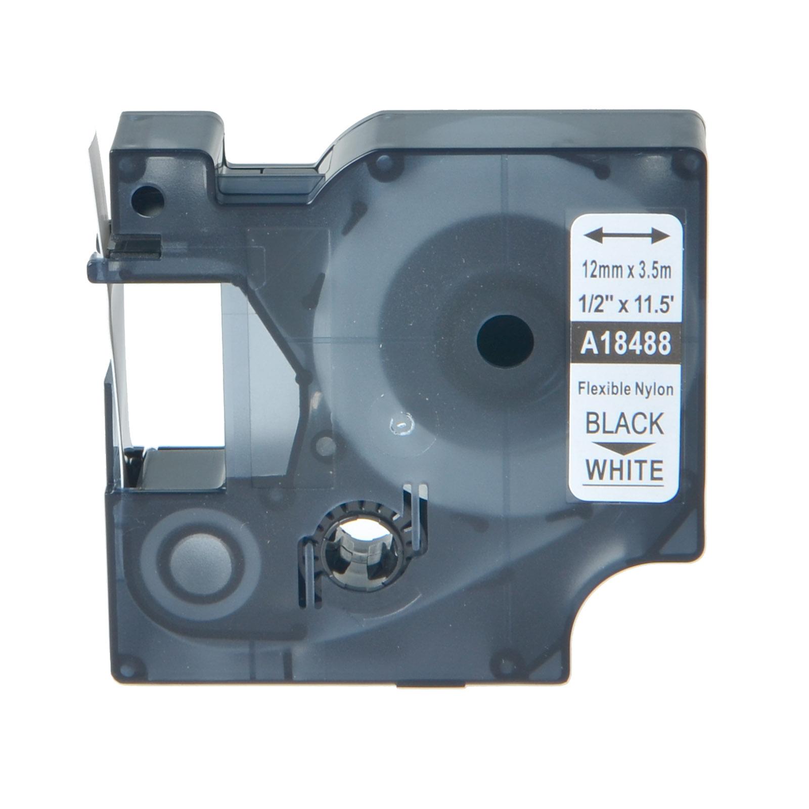 "1PK 1//2/"" Black//White Flexible Nylon Label 18488 For DYMO Rhino Industrial 4200"