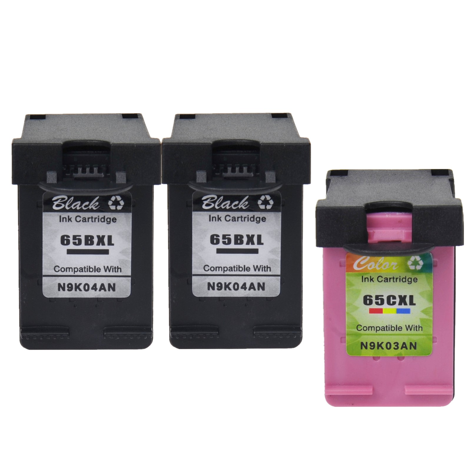 1PK Color 2PK Black Compatible with HP 65XL Ink N9K03AN N9K04AN for Deskjet 2655