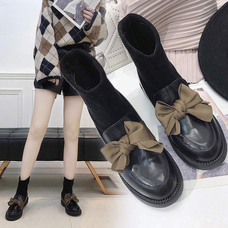 5084d9a7ed6 Details about Japanese Women JK School Uniform Student Flat Shoes Socks  Bow-knot Boots Cosplay