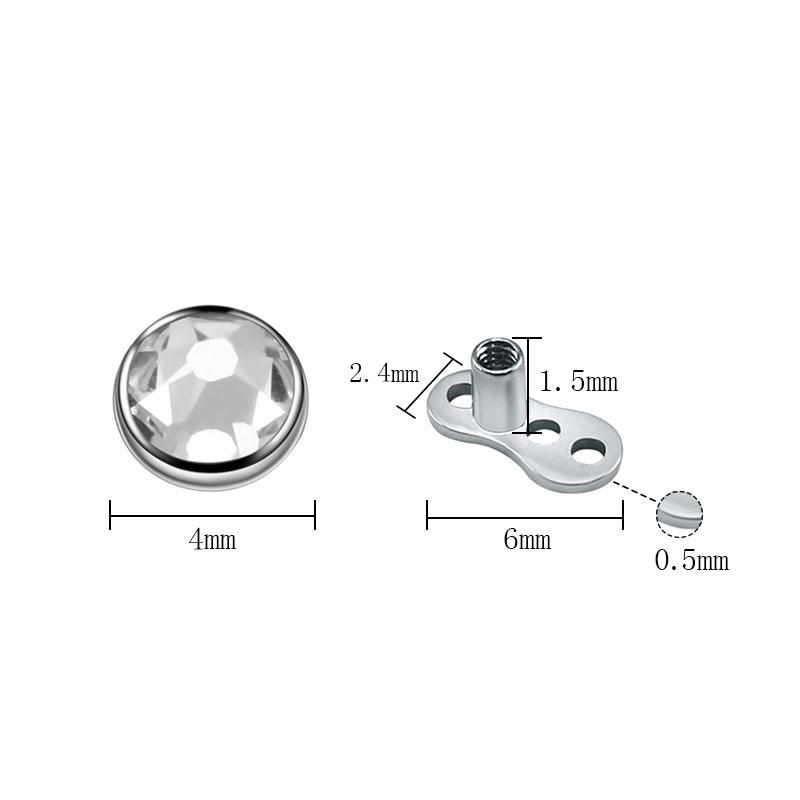 Details about G23 Titanium Dermal Piercings CZ Top Piercings Dermal Anchor  Skin Diver Piercing