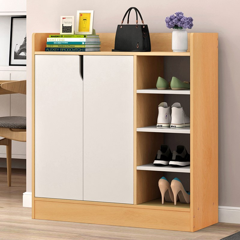 Details About Shoes Cabinet Solid Wooden Shoe Rack With 2 Doors 3 4 Tiers Shelves Storage Unit