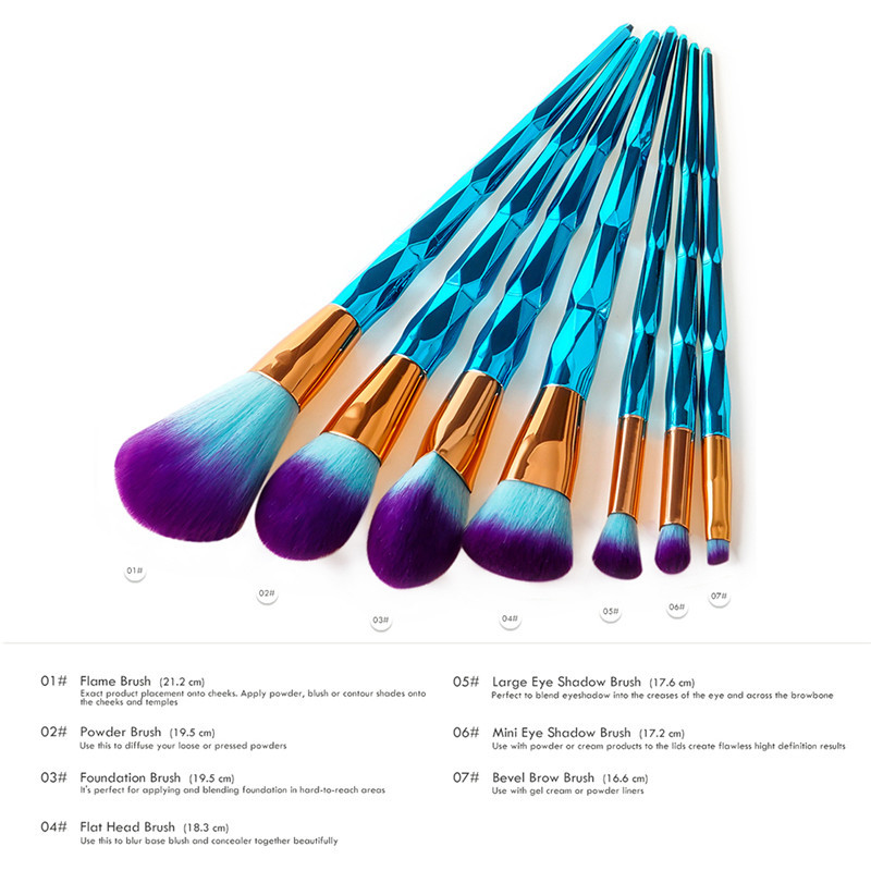 7 Pcs Blue Diamond Makeup Brush Set Powder Foundation Eyeshadow Cosmetic Brushes