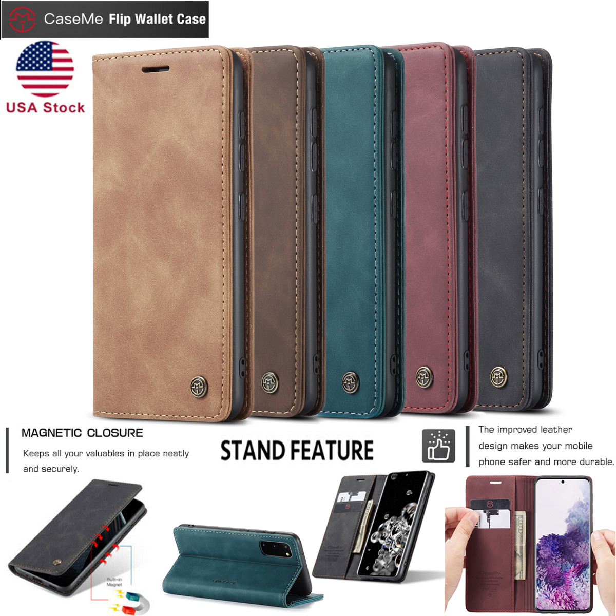 Samsung Galaxy S8 Plus Flip Case Cover for Samsung Galaxy S8 Plus Leather Extra-Shockproof Business Mobile Phone case Card Holders Kickstand with Free Waterproof-Bag Absorbing