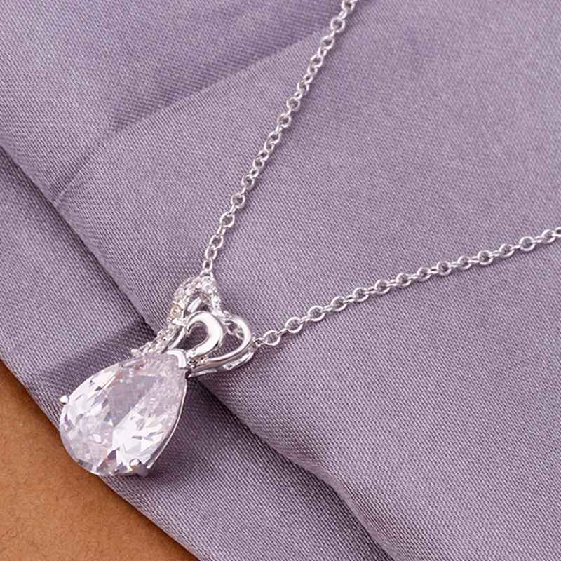 Fashion 925 Silver plated Jewelry Crystal Waterdrop Pendants Necklace N328
