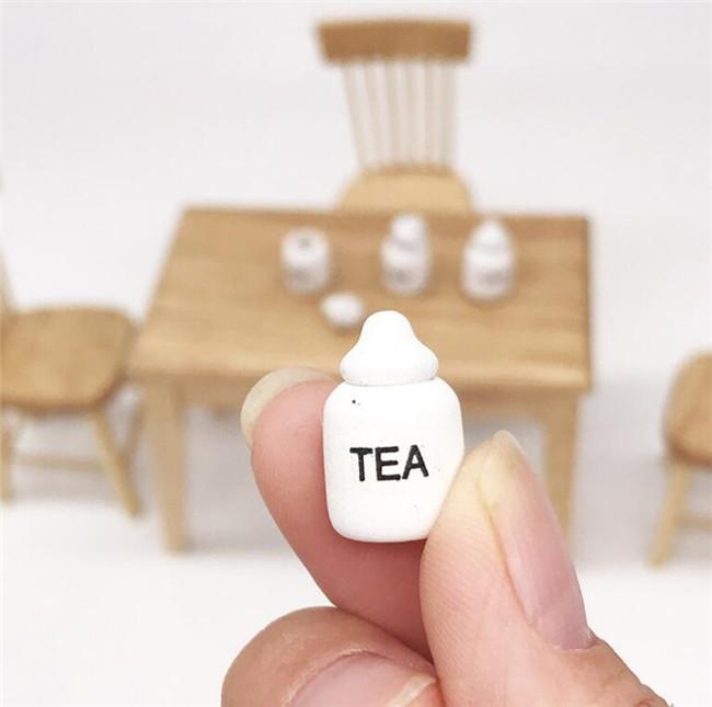 Set ^ 1:12 Dollhouse Miniature Kitchen Accessories Sugar Sour Tea Rice 4 Jars
