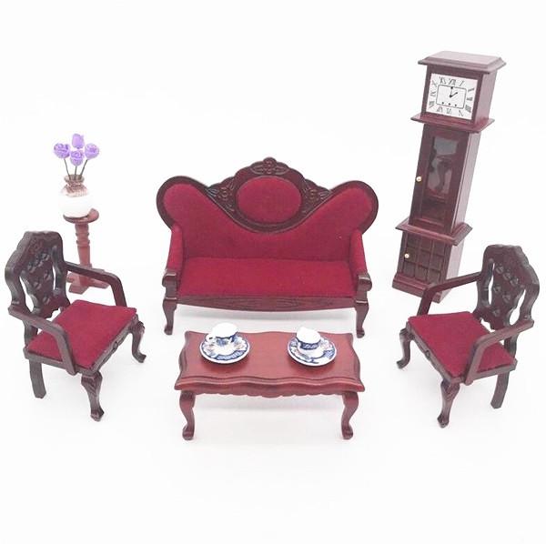 1:12 Dollhouse Miniature Furniture Room Modern 3 Seats Sofa With 3 Cushions ♫