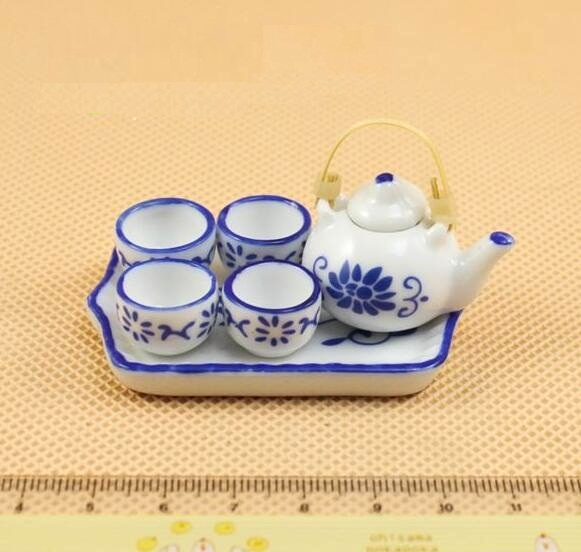 1:12 Dollhouse Miniature Furniture Porcelain Blue Tea Set Pot Bamboo Handle *