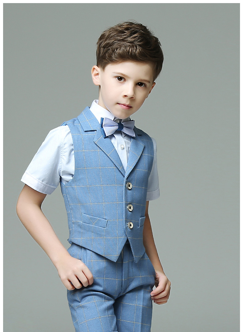 Boy 4 Piece fancy dress Formal Kid Suit Blue Plaid shirts pants ...