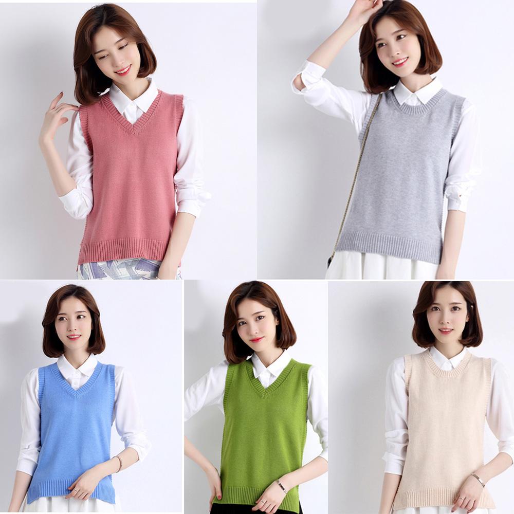 Womens Knit Cotton Sweater Vest Warm Pullover Knitwear Outwear ...