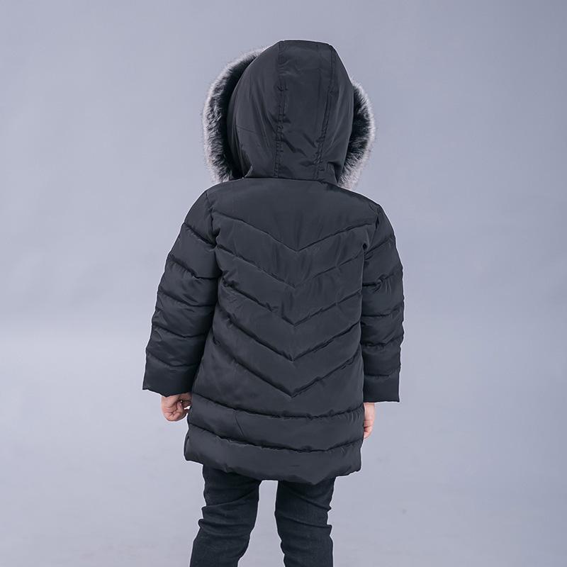 c3d704077 Girls boys Puffer Jacket Kids Warm Fur Hooded Parka Outwear Quilted ...