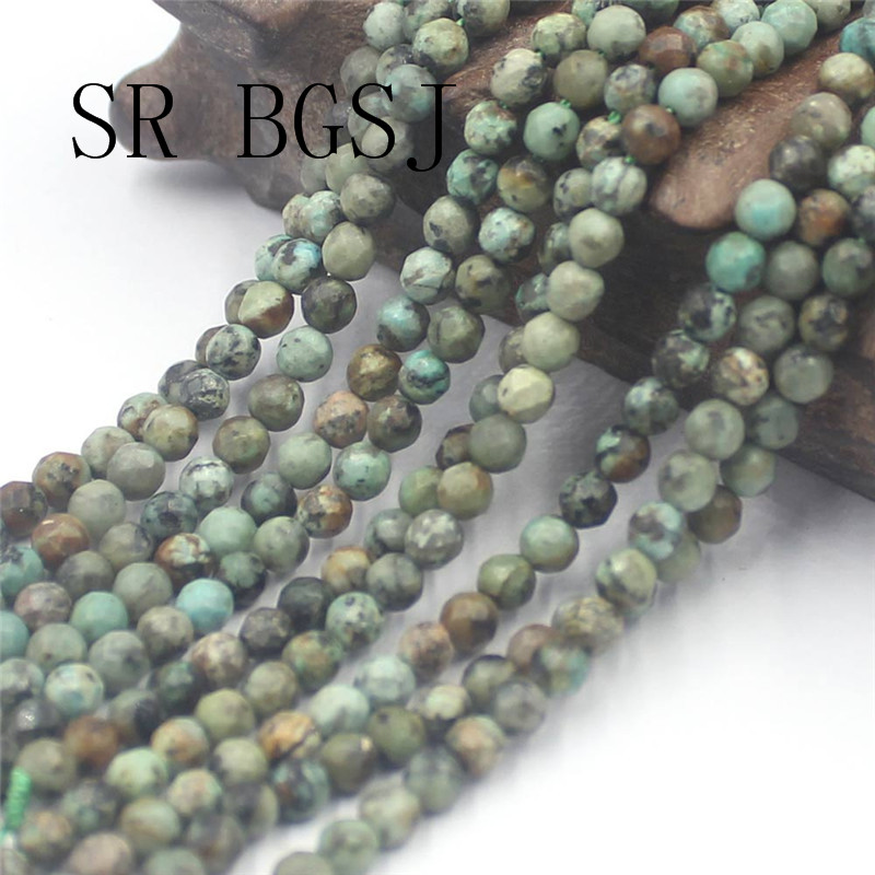 """Jewelry Round Faceted Gemstone African Turquoise Beads Strand 15/""""4 6 8 10mm"""