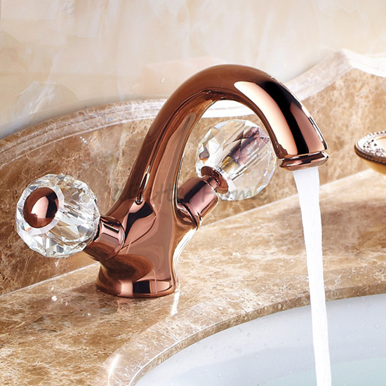 Luxury Rose Gold Double Crystal Handle Sink Basin Mixer Tap Bathroom Faucet