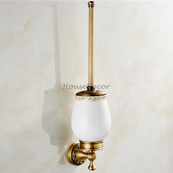 European-Style Bathroom Ceramic Toilet Brush Set High-End Toilet Brush Holder Stainless Steel Toilet Bathroom Toilet Brush Holder Holder