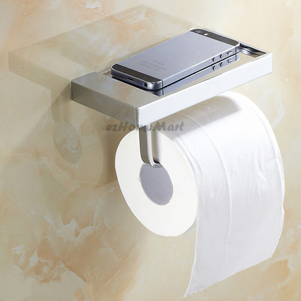Chrome Brass Wall Mounted Bathroom Toilet Paper Roll Holder Phone Storage  Shelf   eBay