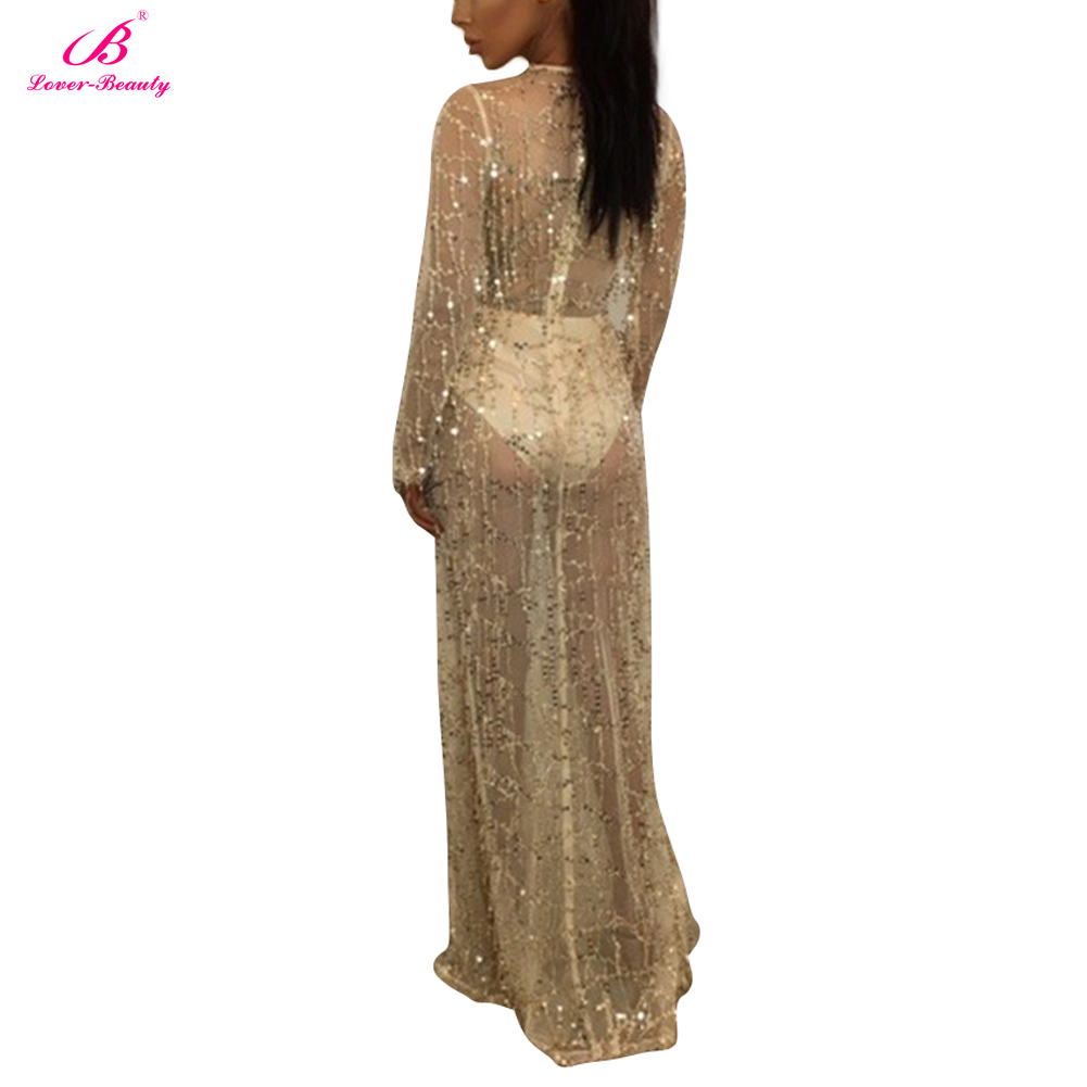 17a67eb8ca Beach Cover Up Maxi Dress Slit Sequin Dress Deep V Dress Full Sleeve Maxi  Dress