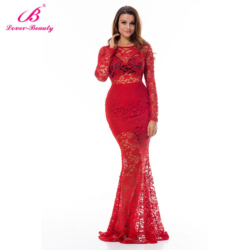 Long Evening Dress Mermaid Prom Dress Long Sleeve Bodycon Dress Lace ...
