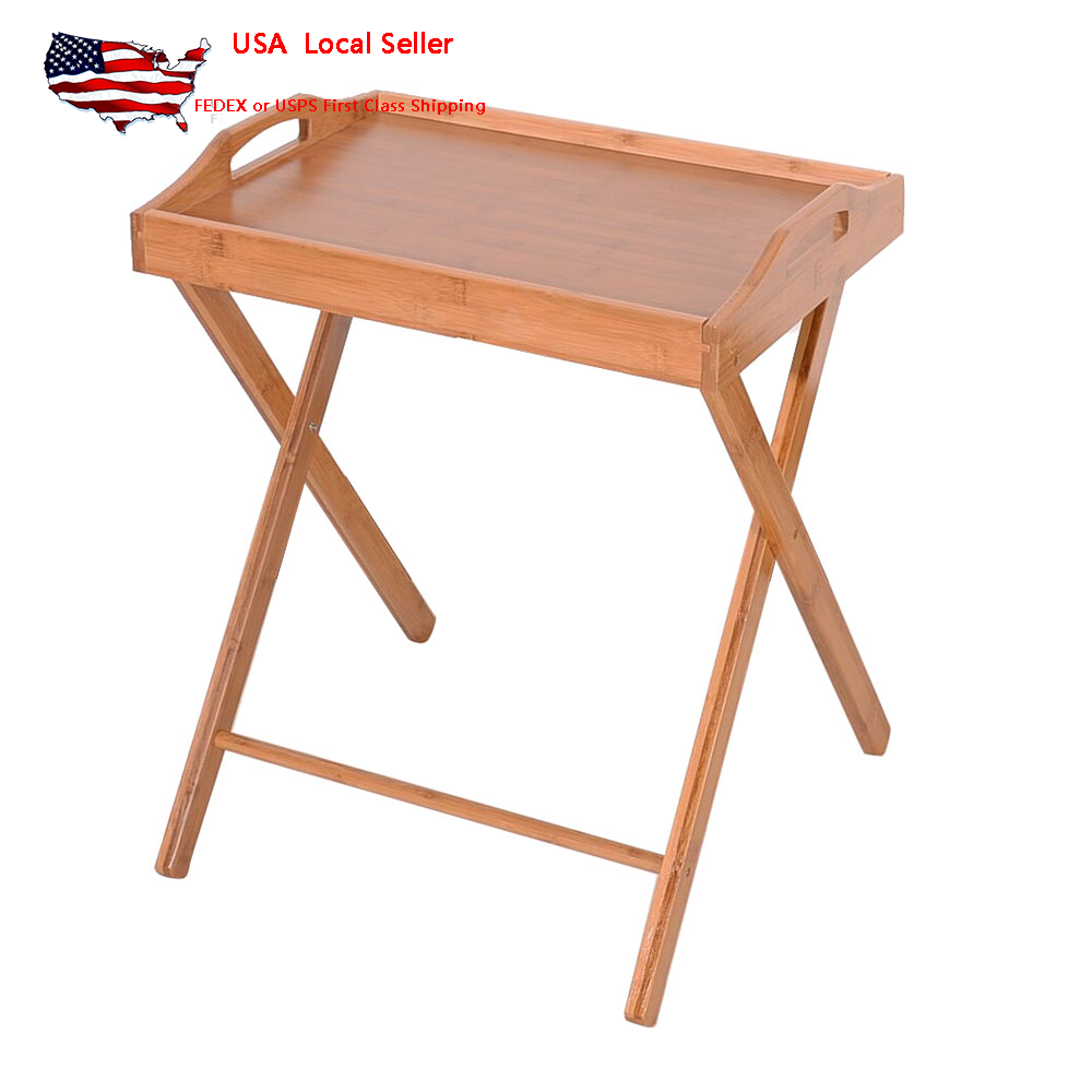 Details About Folding Wooden Dinner Table Floor Standing Coffee Snack Tea Tray Desk Save E