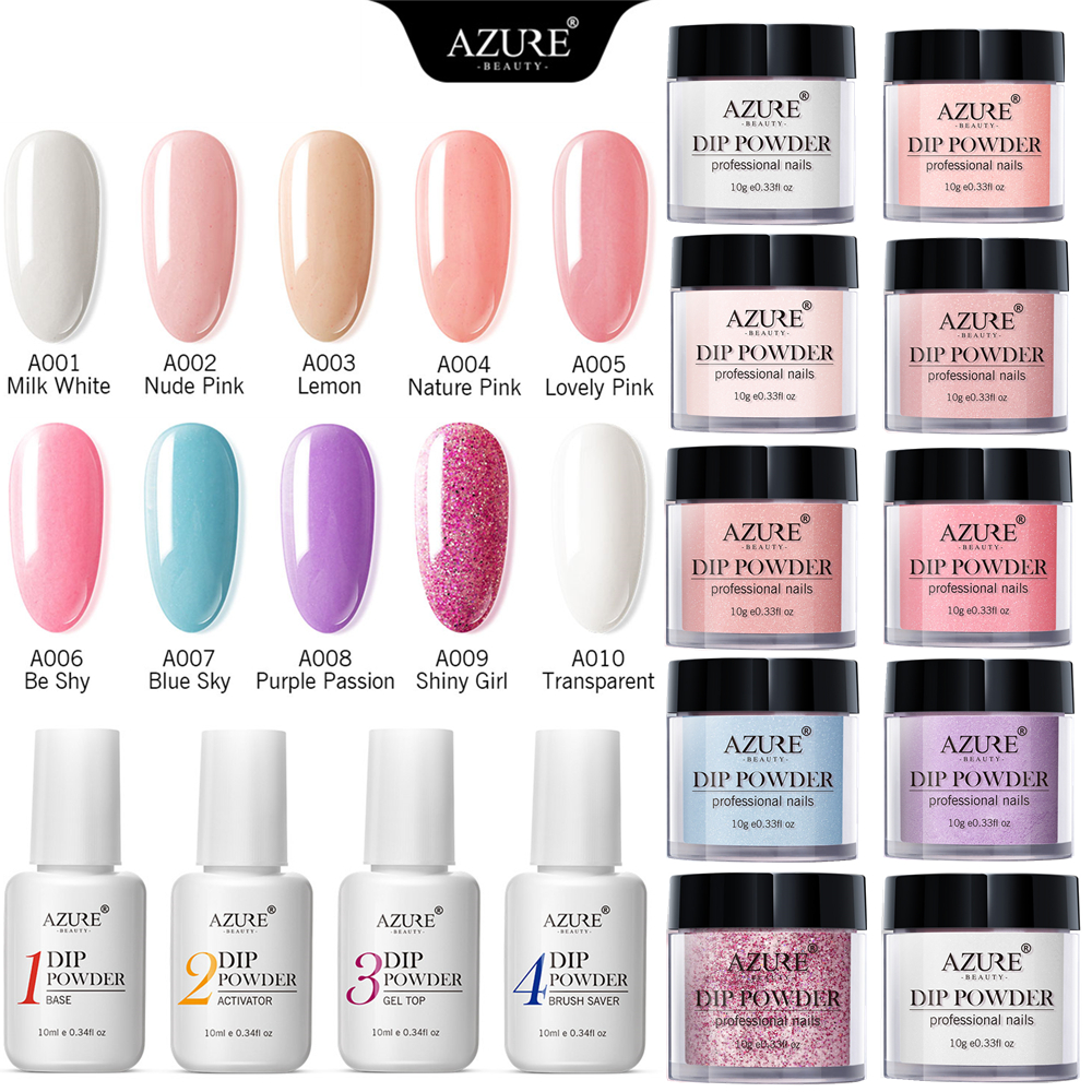 Details about Azure 10g Dipping Powder Dip System Liquid Natural Dry  Manicure Nail Art Decor