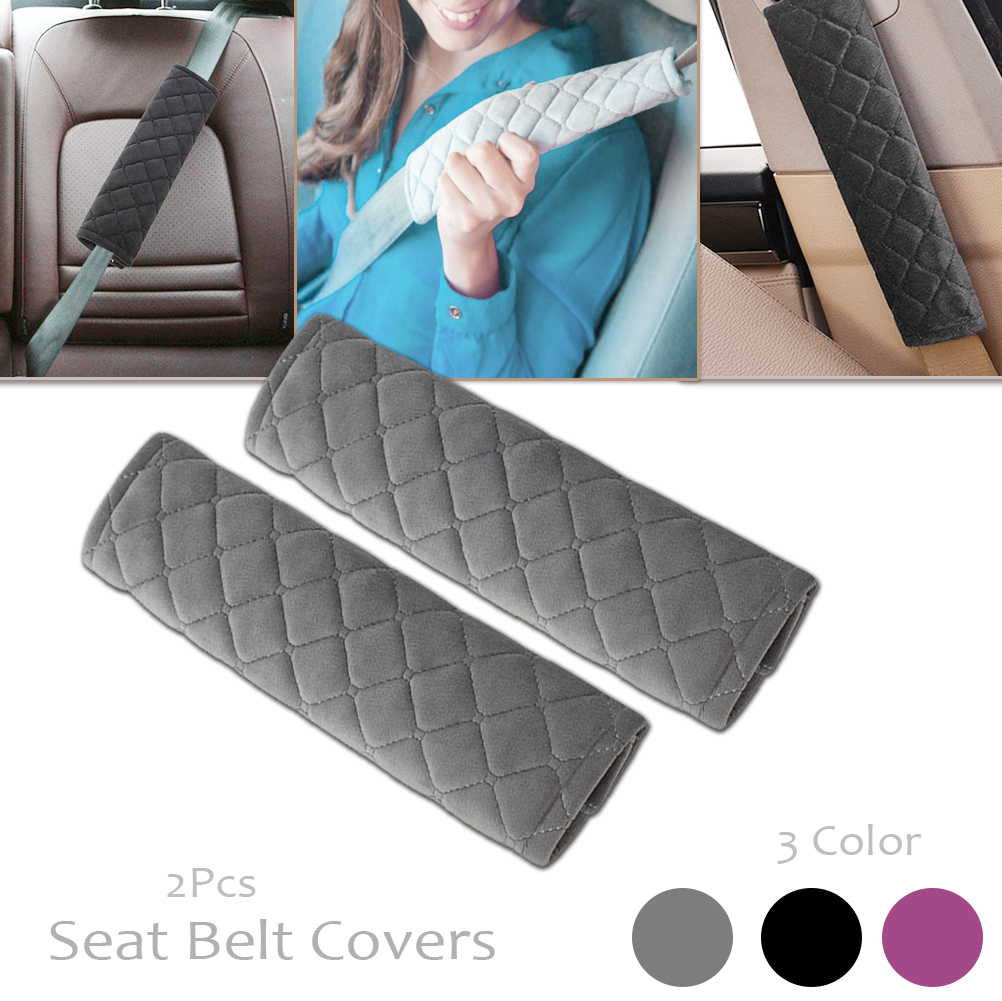 Gray Universal Car Seat Belt Pads Seat Shoulder Strap Pad Cushion Cover Car Belt Protector Safety Belt Cover for Adults Kids 2pcs