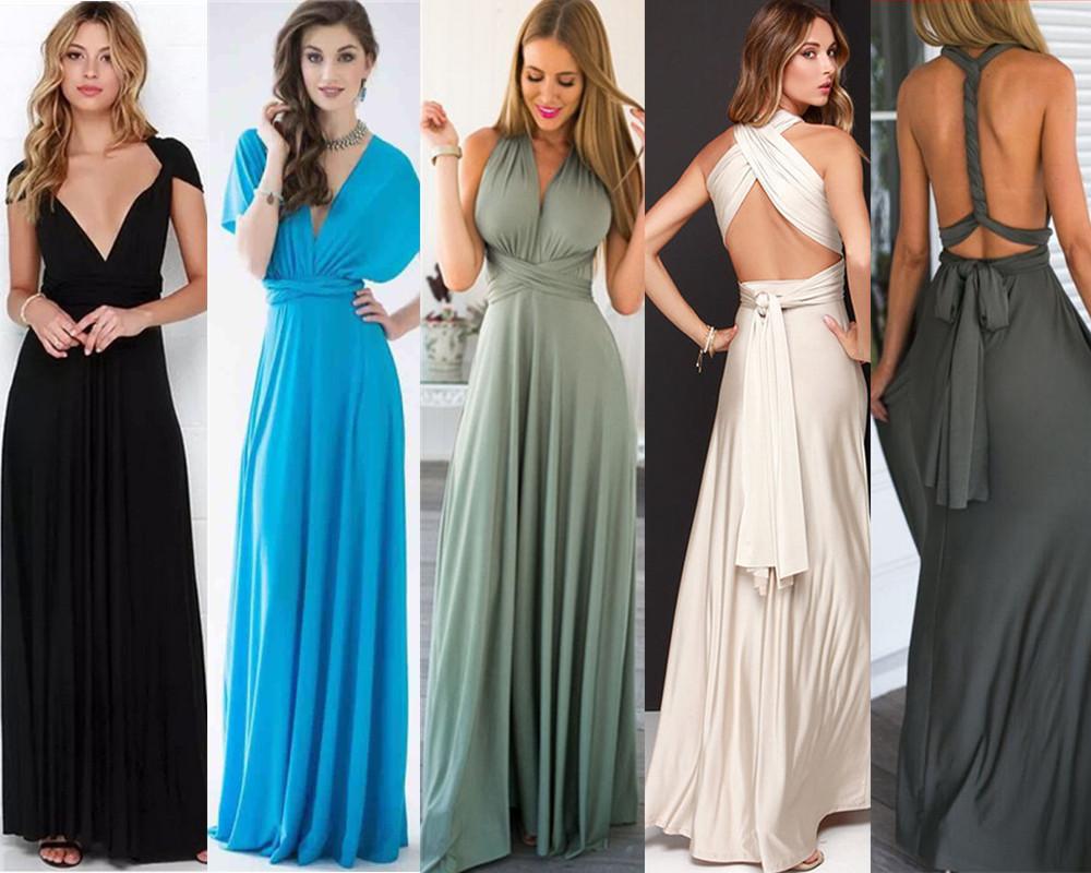 2017 Women Evening Dress Convertible Multi Way Wrap Party Formal ...