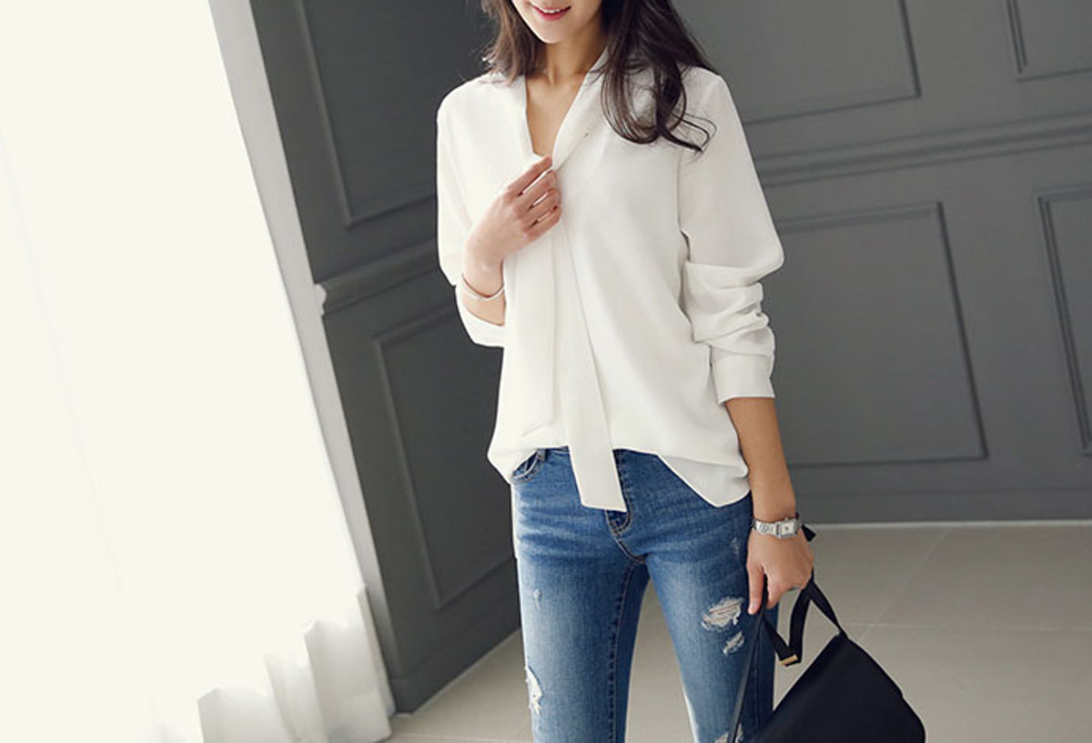 2017-Autumn-Women-Long-Sleeve-Chiffon-Tie-Neck-Career-Shirt-Business-Blouse-Tops