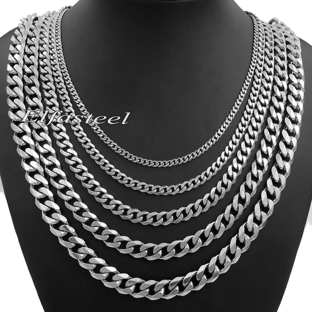 99c0e734a8439 Details about 3/5/7/9/11mm MENS Stainless Steel Silver Tone Curb Chain  Necklace 18-36'' inch