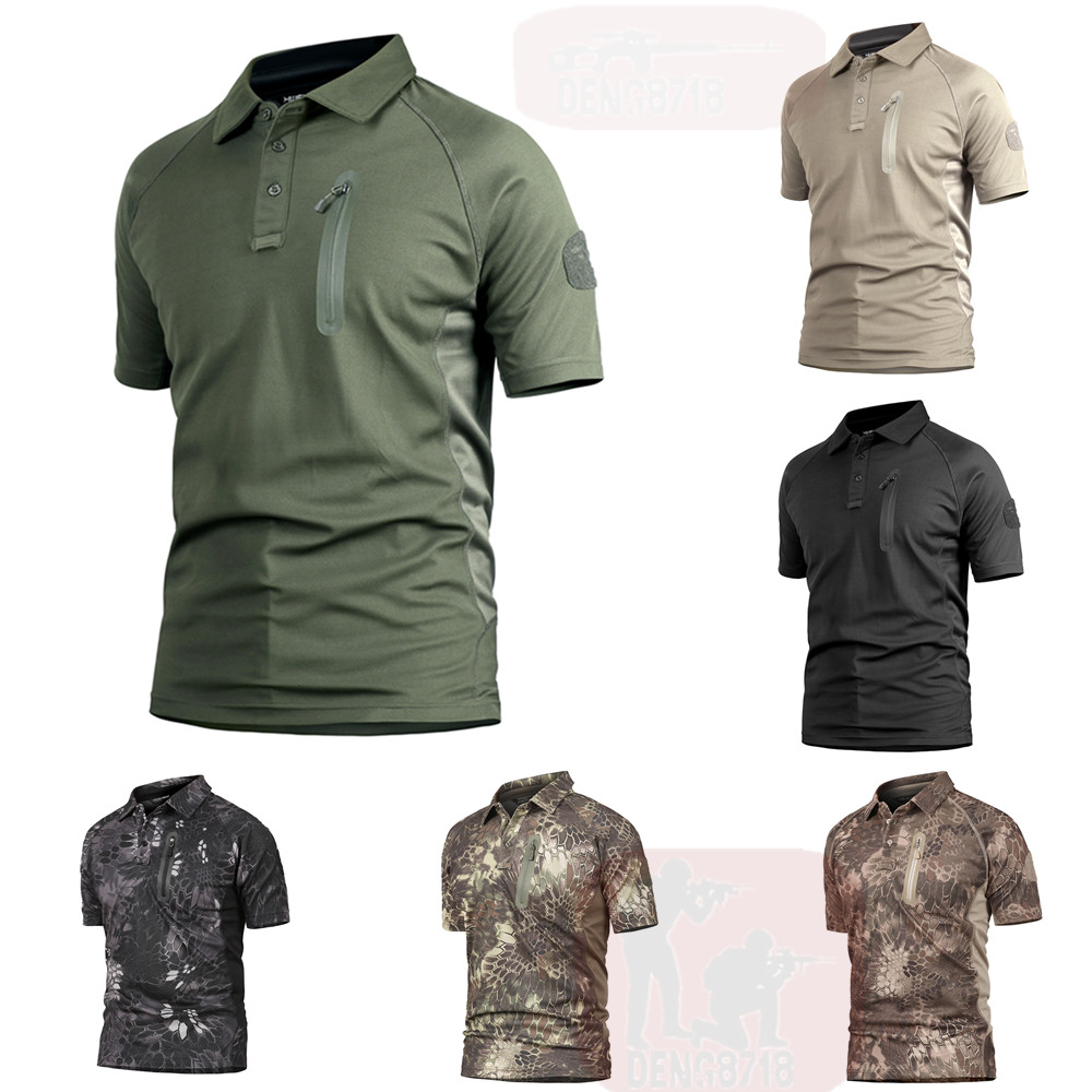 Mens Army Outdoor Polo Shirt Military Tactical Casual T Shirts