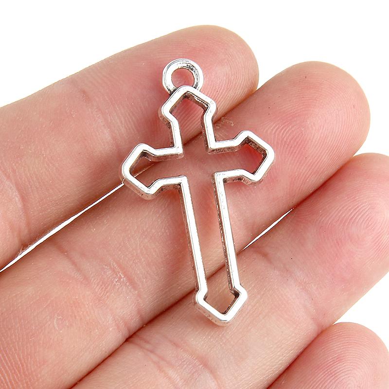 30//90pcs Tibetan Silver Cross Charms Pendants Beads 9.5x17.5mm