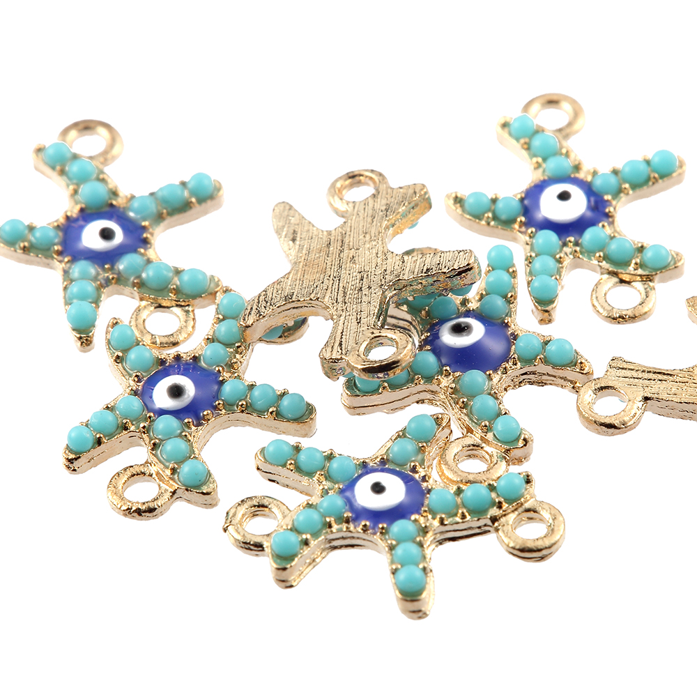 10pcs Small Starfish Inlaid Beads Connector Charms DIY Bracelet Making 19*16mm