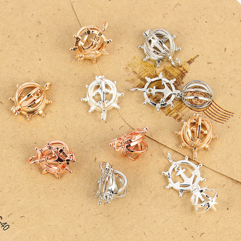 1Pcs Gold//Silver Ship Anchor Shape Pearl Beads Cage Pendant DIY Necklace Making