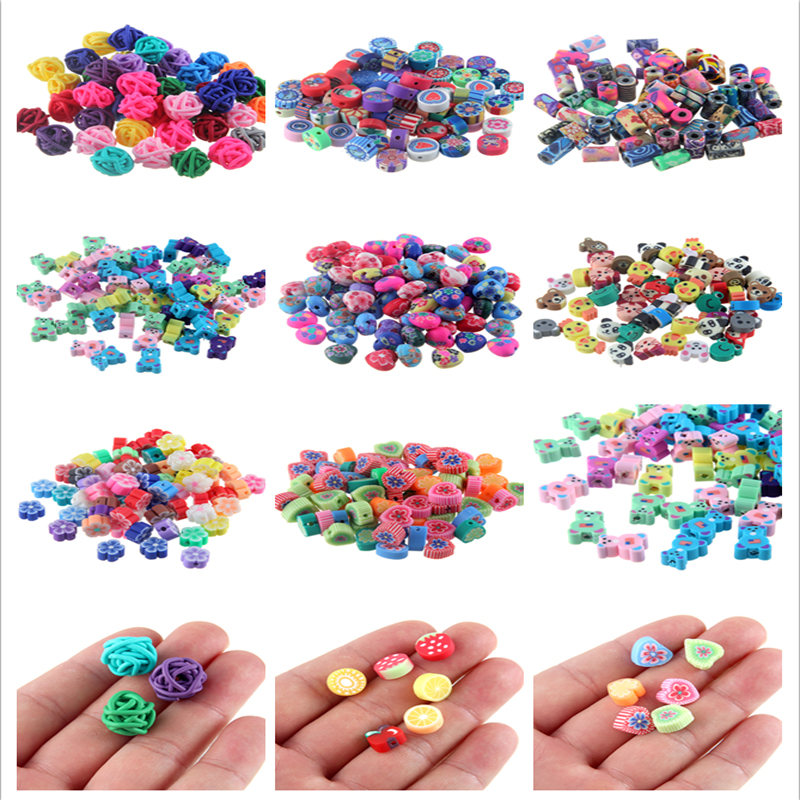 50pcs Floral Polymer Clay Oval Loose Spacer Beads for Crafts DIY Findings