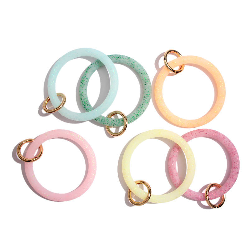 Fashion Wrist Strap Silicone Key Ring Wristlet Keychain Keyrings Bracelet