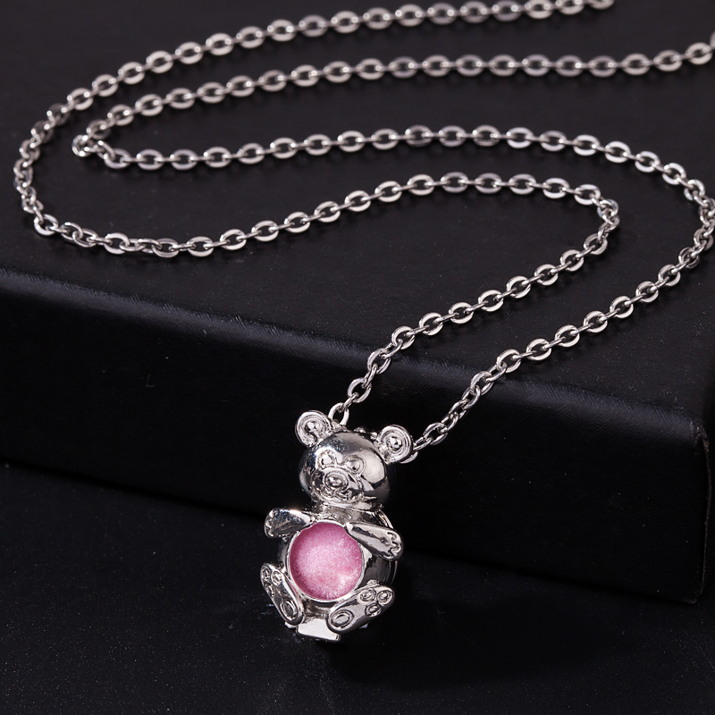 5Pc Ancient Silver 3D Ice Cream Pearl Beads Cage Pendant Necklace DIY Craftwork