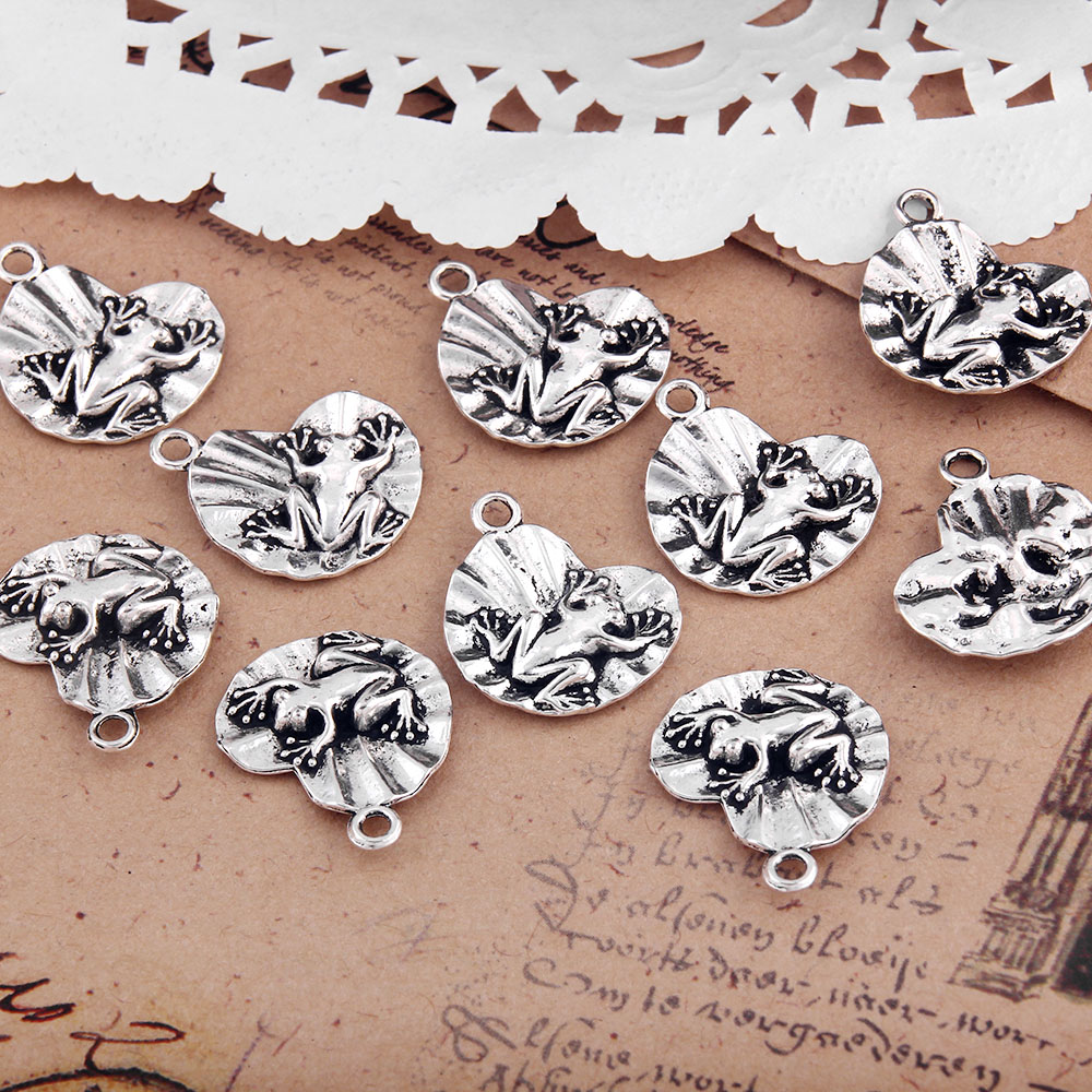 Pack of 10 Tibetan Silver Round Pattern Connector Bead Charm 21 mm x 15 mm