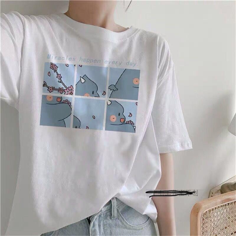 Harajuku Summer Women/'s Ins Tees Cartoon Printed Short Sleeve Casual T-shirt Top