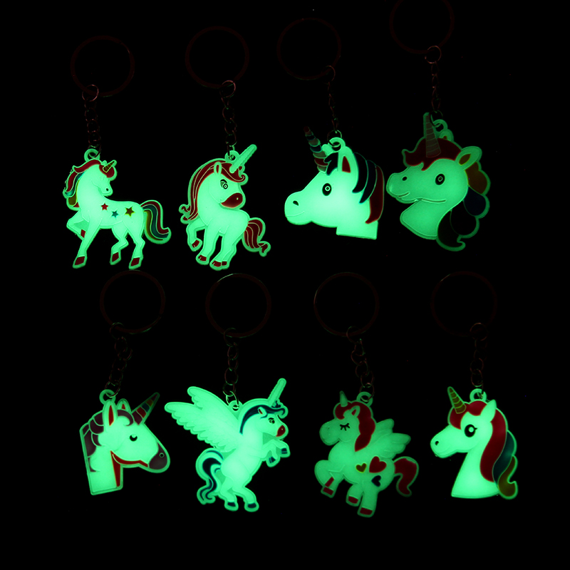 8PC Glowing In The Dark Keychain Mixed Rainbow Rubber Pony Unicorn Keyring Gift