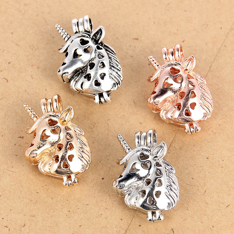 1Pc Silver Plated Double Moon Shape Pearl Beads Cage Pendant DIY Necklace Making